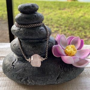 Genuine rose quartz stainless steel necklace